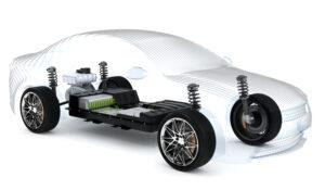 maquette de voiture électrique avec une batterie électrique