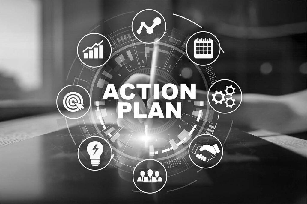 panneau de contrôle intéractif avec les différentes parties d'un plan d'action