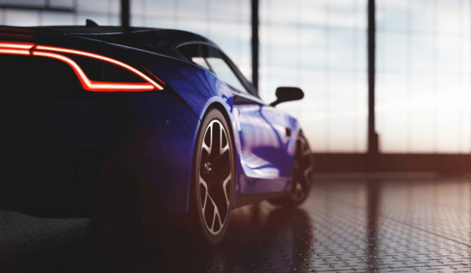 Voiture haut de gamme bleue symbolisant le secteur automobile allemand