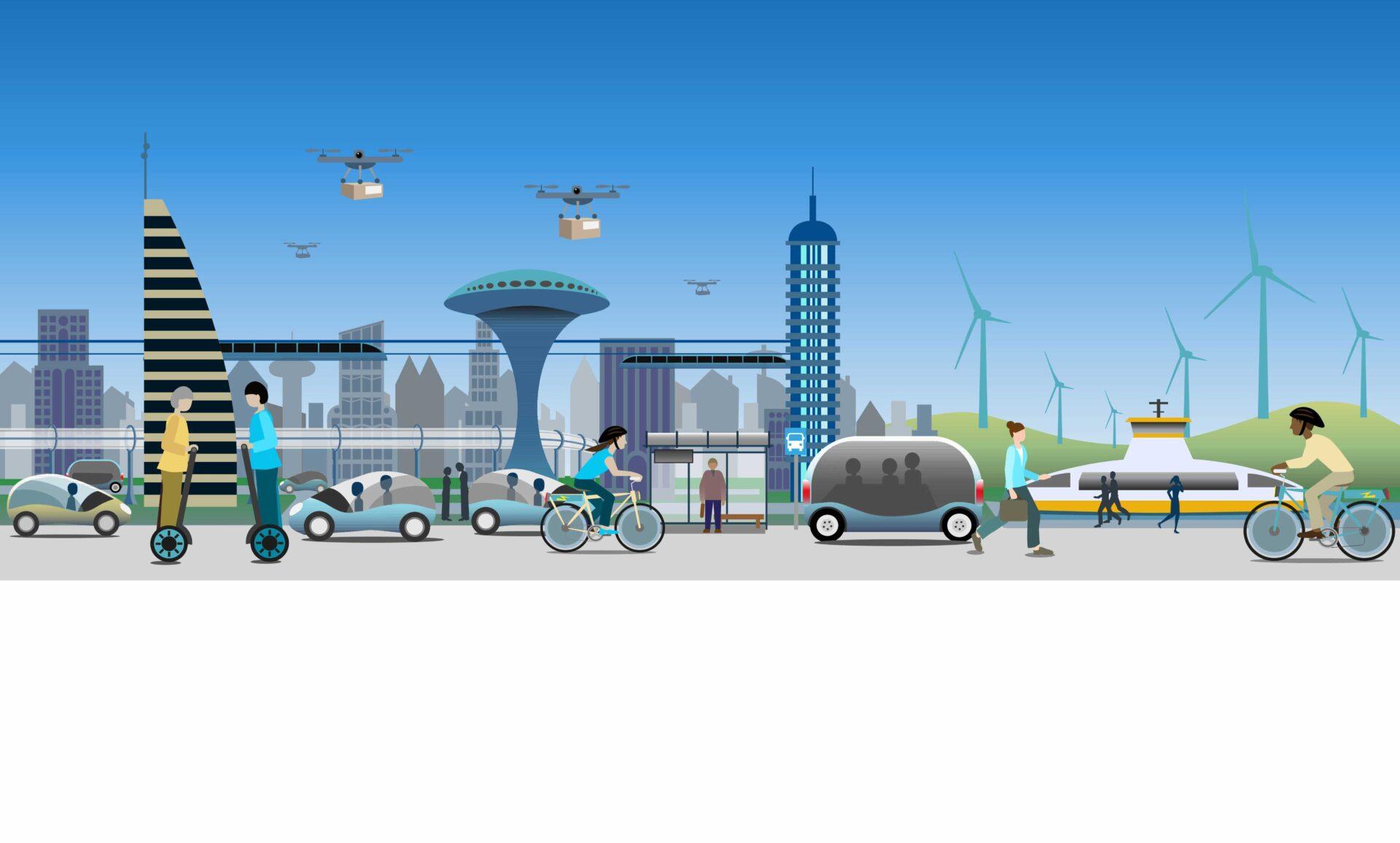 ville et mobilité futuriste grâce à l'électro-mobilité dans le secteur de la mobilité allemand
