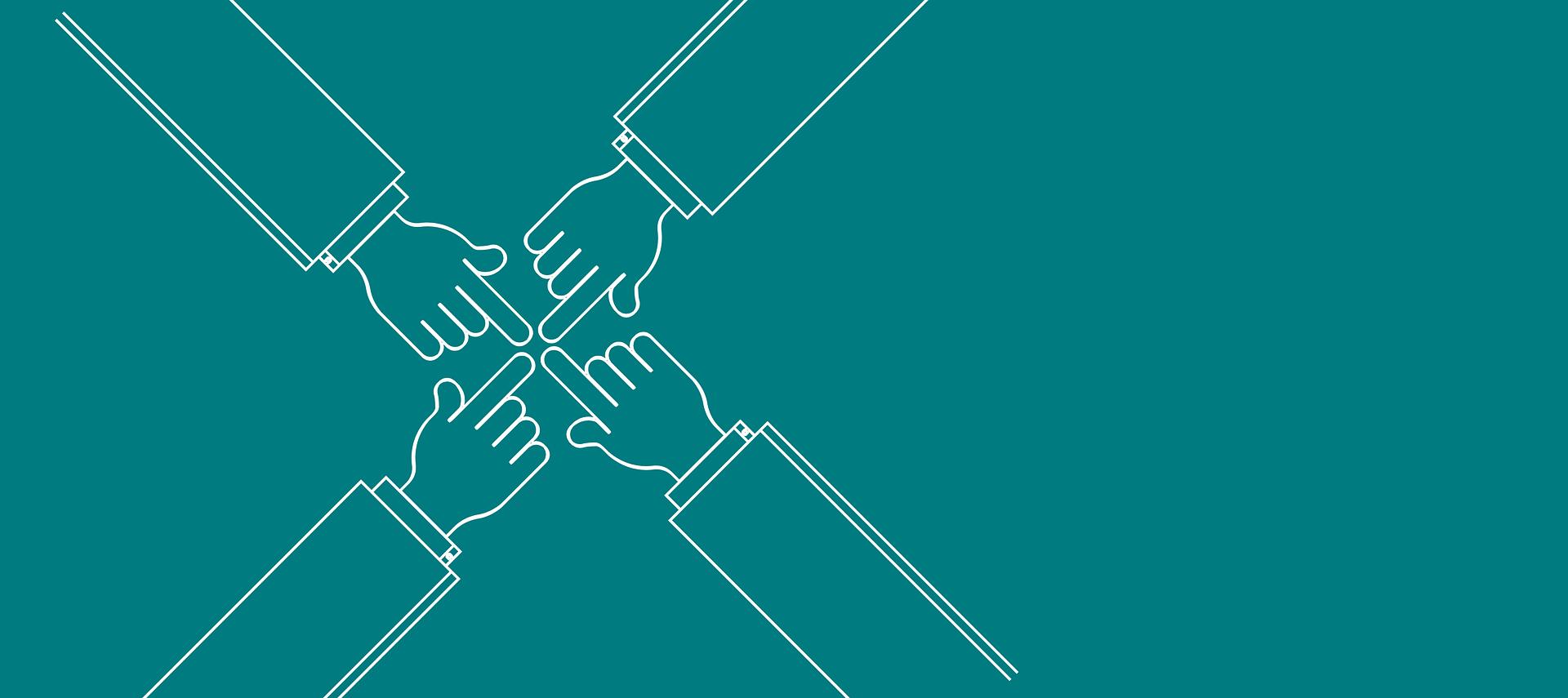 quatre bras de partenaires dessinés à l'opposé se touchant avec l'index au centre