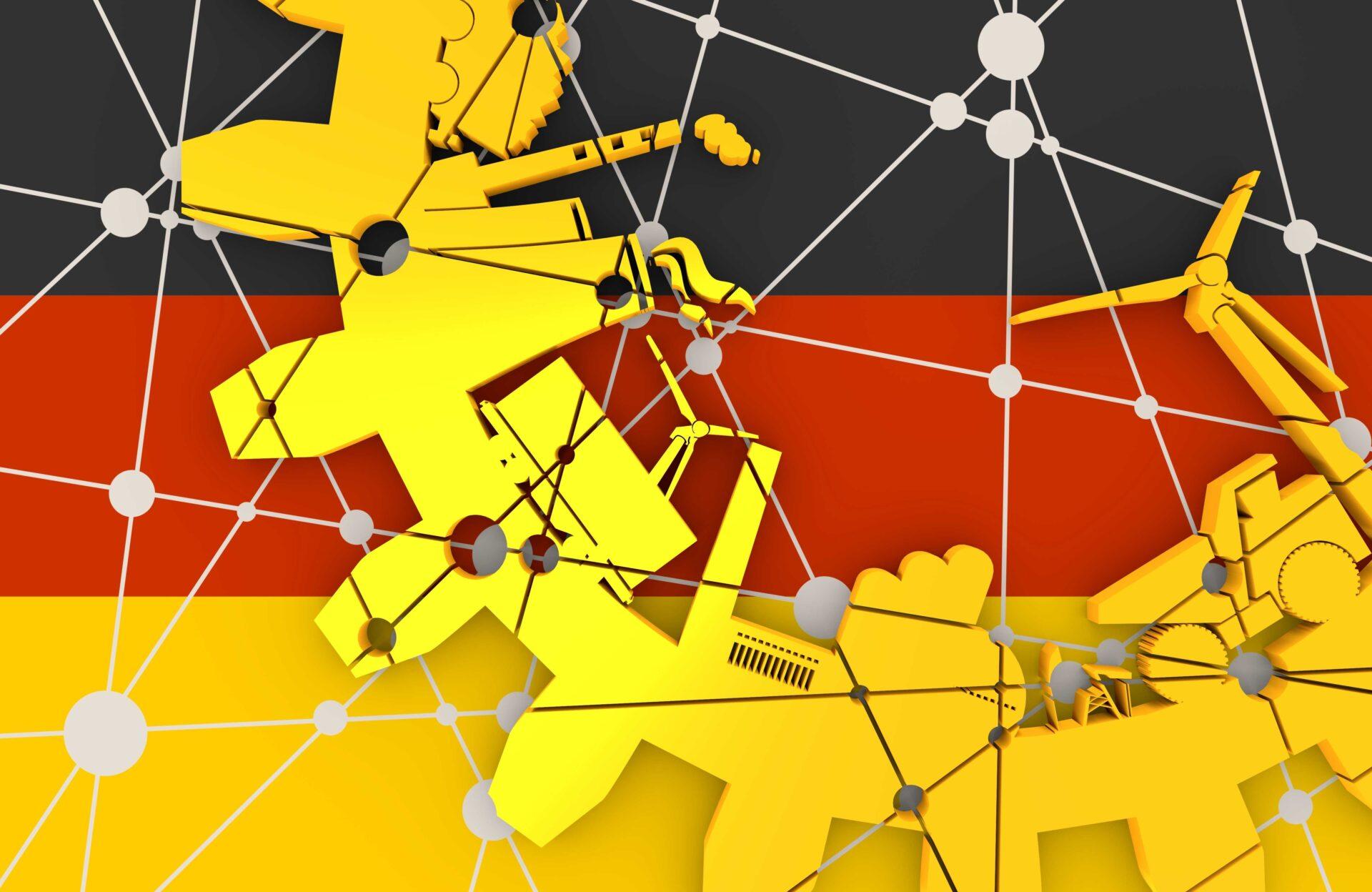 roue de mécanisme avec les différentes types d'industries et les secteurs économiques allemands