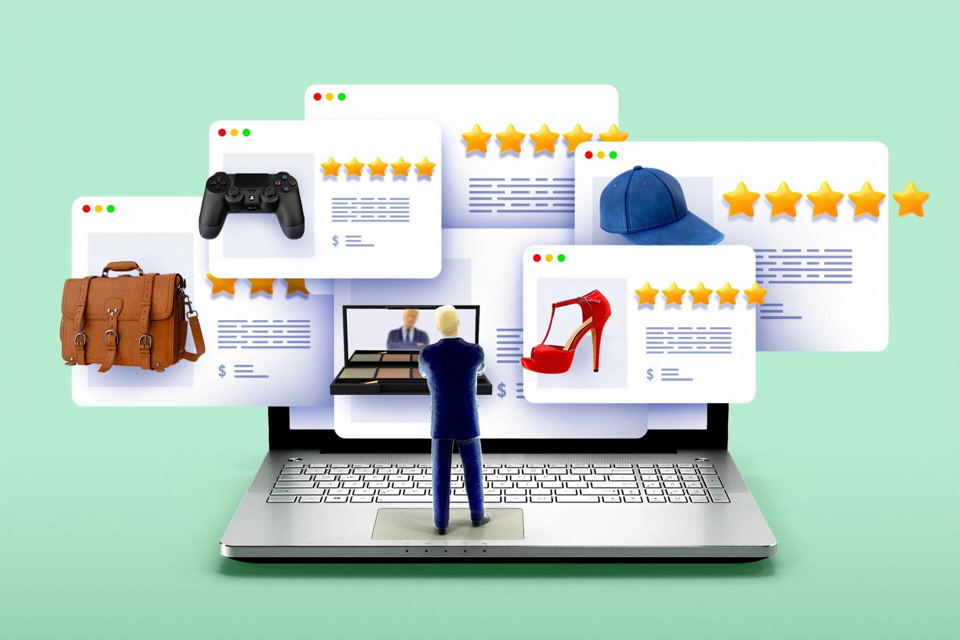choix grâce aux avis clients sur un marketplace depuis un ordinateur dans le e-commerce