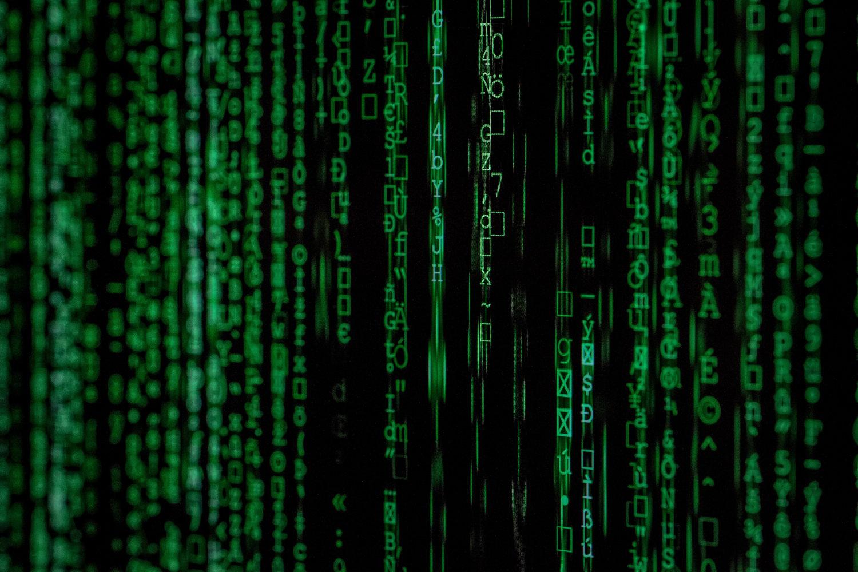 matrice avec un code vert binaire du réseau informatique