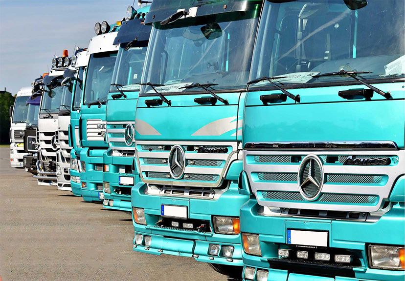 Alignement de poids lourds allemand bleu et blanc
