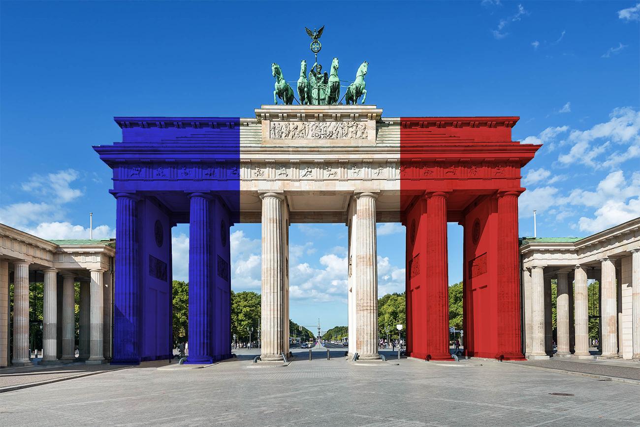 La porte de Brandebourg en Allemagne avec un drapeau français symbole des filiales